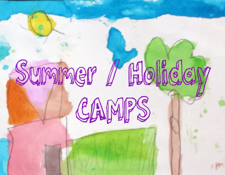 cheery kindergartener's watercolor painting with Summer/Holiday Camps advertising text