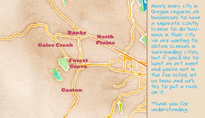 watercolor map of service areas Forest Grove, Banks, Gaston, Gales Creek, and North Plains