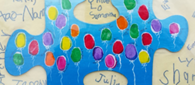 kindergarten thumbprint balloons on large puzzle piece image