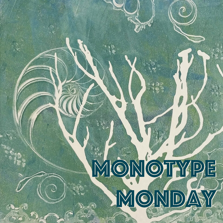 sea themed monotype by April Hoff