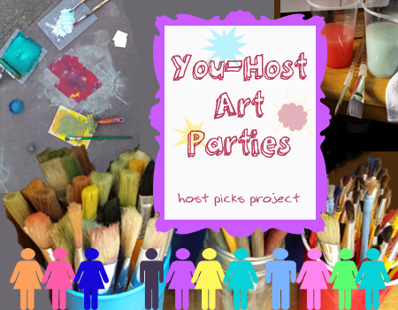 "graphical and photographical image with men and women icons, paint brushes, and a framed poster that reads ""You-Host Art Parties - host picks project"""