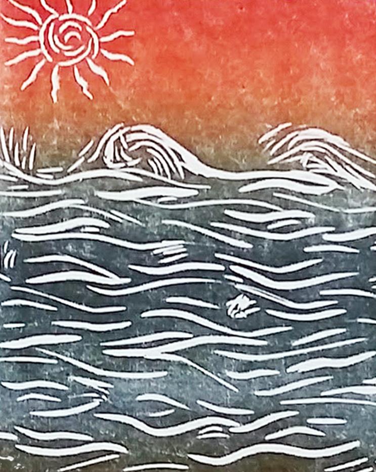 Simple two-color linocut image of ocean by April Hoff