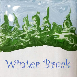 Winter break graphic using artist April Hoff's flow painting.