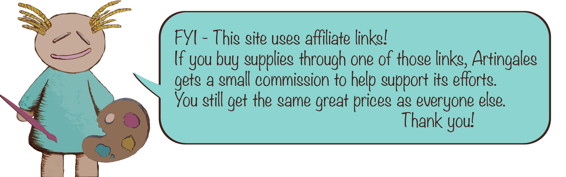 Illustrated doll graphic with text bubble explaining affiliate relationship.