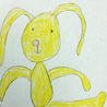 yellow bunny drawn by Lyla in kindergarten