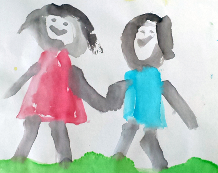 child's watercolor image of kids walking hand in hand in grass